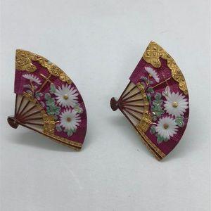 VTG Antique Silver Enamel Fan Shape Earrings Japan